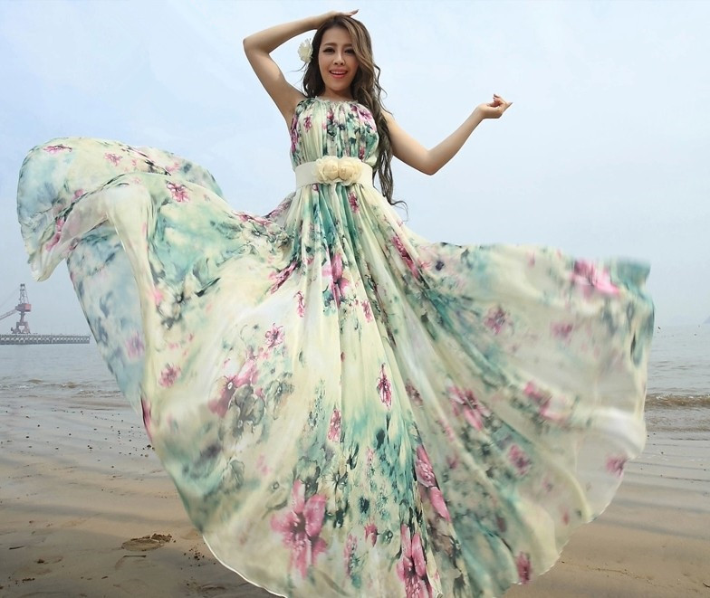 Summer Floral Long Beach Maxi Dress Lightweight Sundress Plus Size