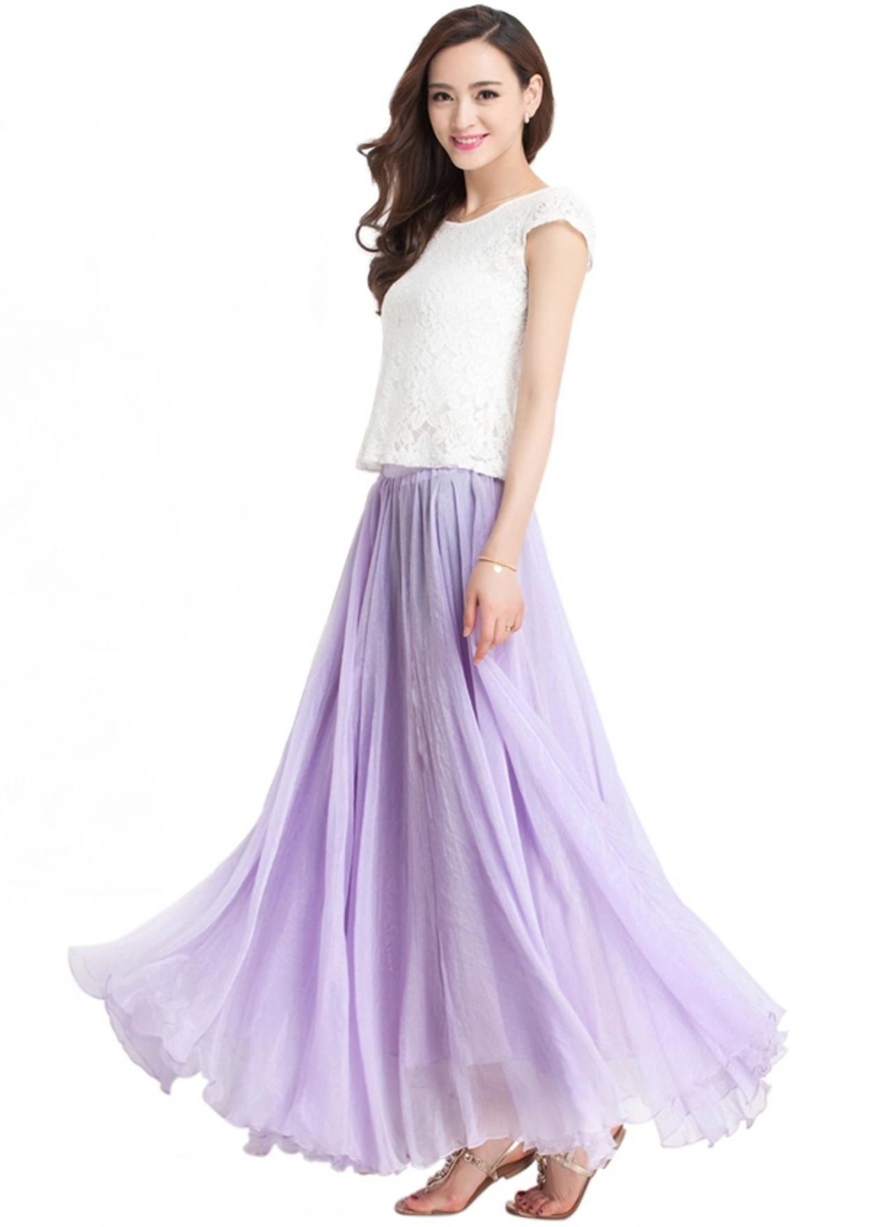 bc3ad9739f Lavender Long Chiffon Skirt Maxi Skirt Ladies Silk Chiffon Dress Plus Sizes  Bridesmaid Sundress Beach Skirt