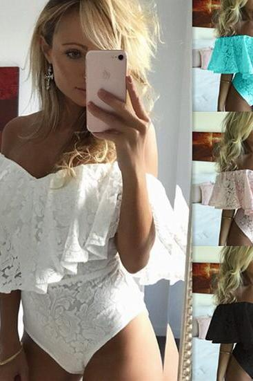 Sexy Strapless Lace Bodysuit Top Womenswear