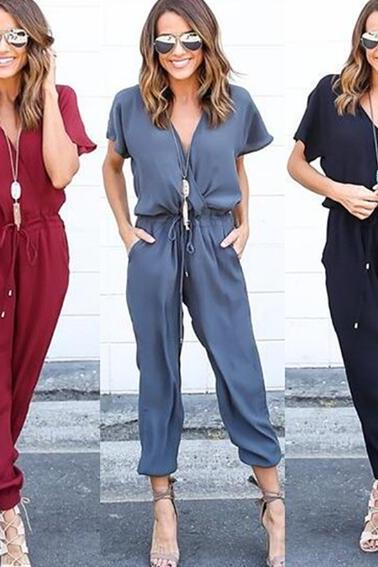 New V-neck sexy cross strappy jumpsuit
