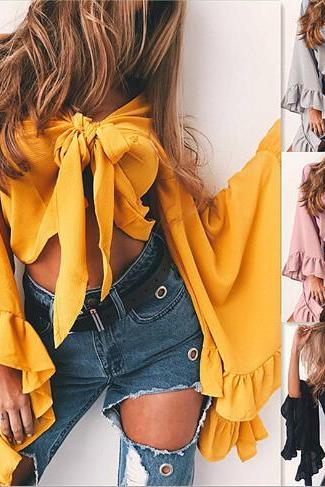 Sexy V-Neck Tie Front Summer Crop Top with Long Bell Sleeves and Frills
