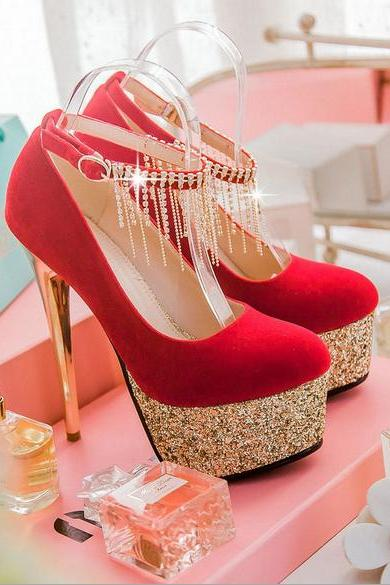 Elegant Rhinestone Embellished Metallic High Heels In Black, White And Red