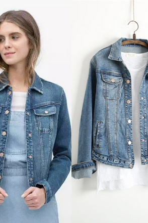 Classic Denim Jacket with Long Sleeves