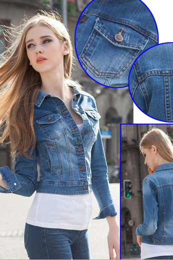 Cropped Denim Jacket with Long Sleeves