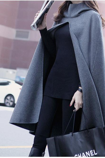 Sexy Hooded Cloak Coat