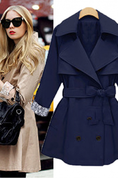 Fashion Loose Bowknot Coat