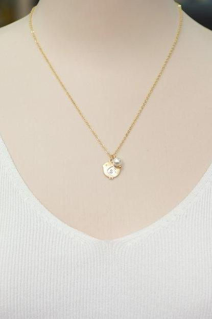 Baby Chick Necklace Personalized Initial Bird Necklace Initial Bird Swarovski Pearl And Bird Necklace Love Necklace For Mom Baby Shower