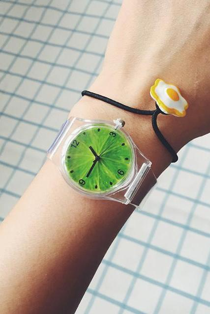 2015 New Fashion Watermelon And Lemon Transparent Watch