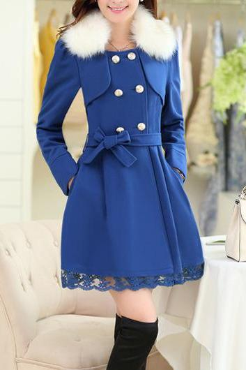 2ce2cd8d0a7 High Quality Glamorous Sapphire Double Breasted Coat With Lace - Blue