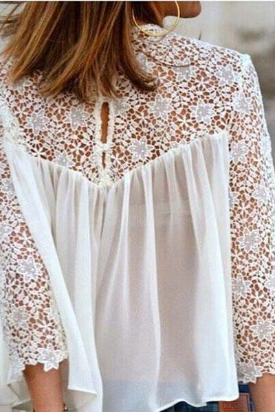 Sweet White Lace Hollow Out Chiffon Shirt