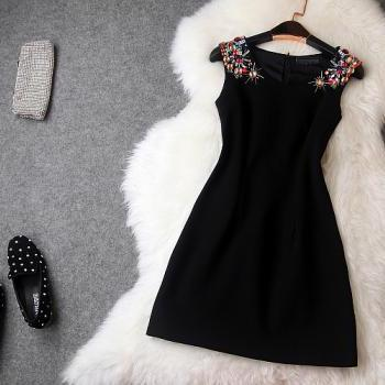 Luxury And Elegant Diamond Sleeveless Dress - Black