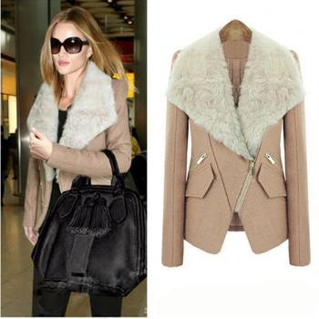 New Fashion Women's Winter Wool Blend Coat Synthetic Fur Collar Hotsail