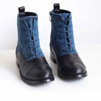 Dark Blue Lace Up Martin Boots