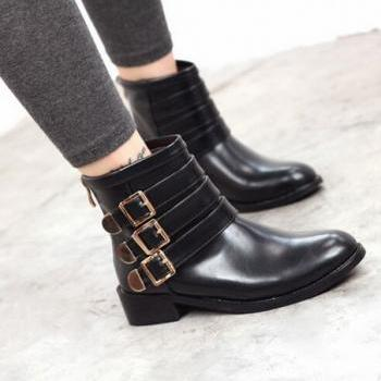 Buckle Design Black Preppy Ankle Boots