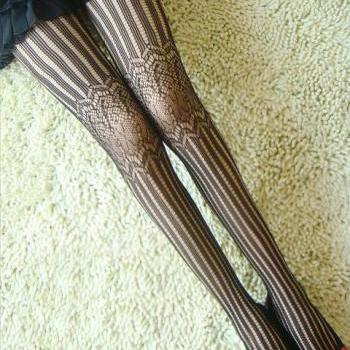 Stripe And Pattern Print Black Tights