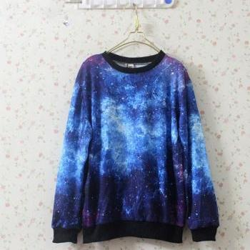 Star Galaxy Print Hoodie Sweater