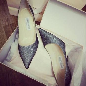 Glittered Pointed-Toe Stiletto Pumps, High Heels, Party Heels, Prom Heels