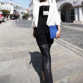 In the autumn of 2015 new shiny silver pearl symmetric leather stitching nine skinny black leggings temperament