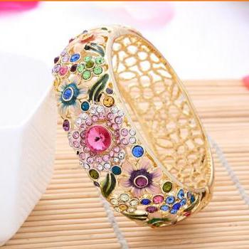 Gold Diamond Bracelet Wind Enamel Craft Fashion 18K Chinese Jewelry