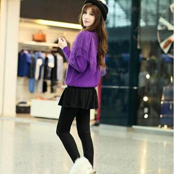 Autumn paragraph cotton stereo midline vertical bar nine Leggings