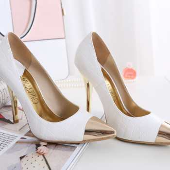 Pointed-Toe Croc-Embossed Stilettos with Golden Metallic Heels