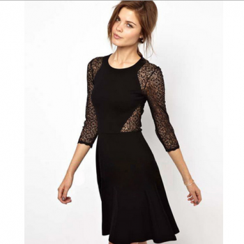 Europe and the United States new waist lace stitching hollow slim high elastic dress