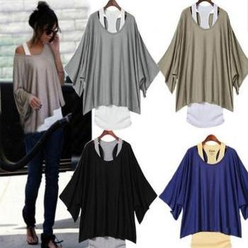 Batwing Sleeves Loose Blouse T-Shirt & Tank Vest 2pcs Set