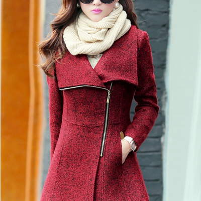 Cheap Fashion Turndown Collar Long Sleeves Zipper Design Wine Red Regular Wool Coat