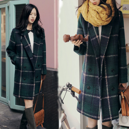 In the green plaid coat from long autumn ladies straight jacket