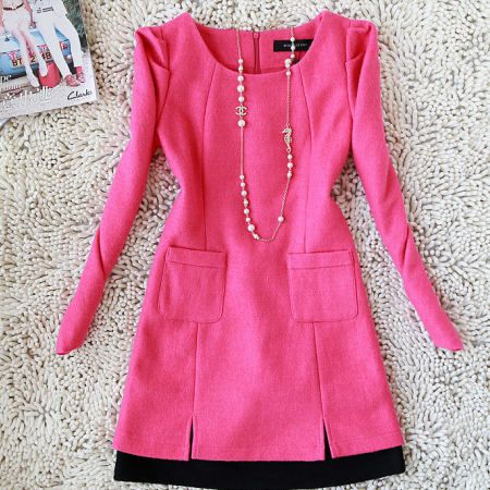 2015 new autumn and winter temperament all-match color it splicing wool dress