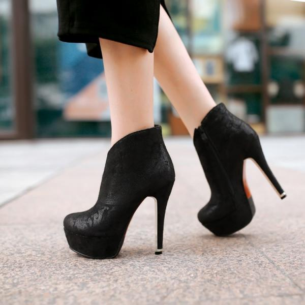 Lace Detail Sexy High Heels Black Booties