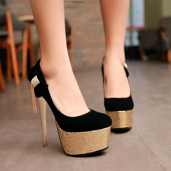 Classy Black And Gold Stiletto Heel Shoes