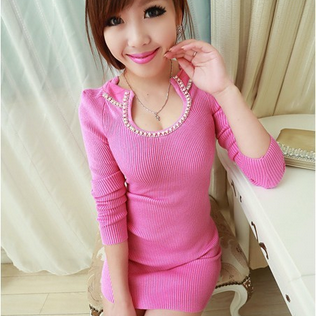 Aristocratic temperament Sexy Low Cut Diamond Beads Set collar self-cultivation all-match bag hip dress