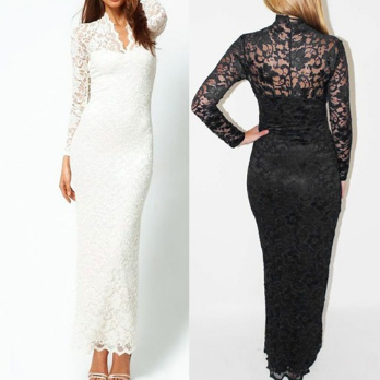 Europe and the United States all lace V plunging necklines sexy hip long sleeved long dress collection pocket