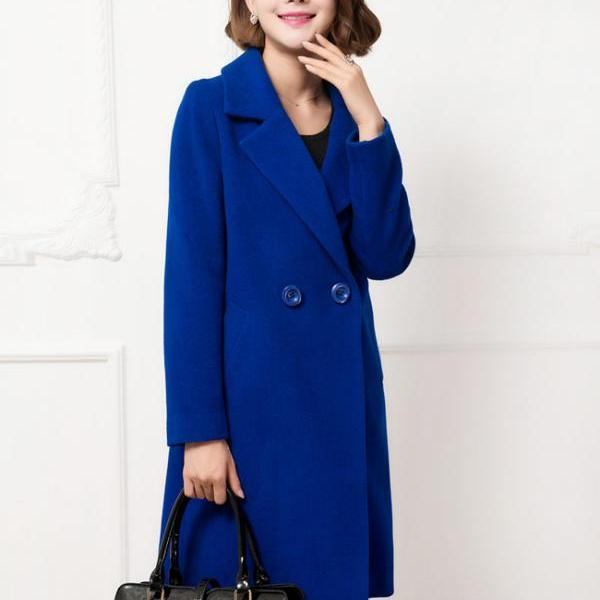 Royal Blue Cardigan Winter Coat