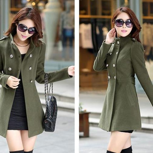 Army Green Double Breasted Warm Winter Coat