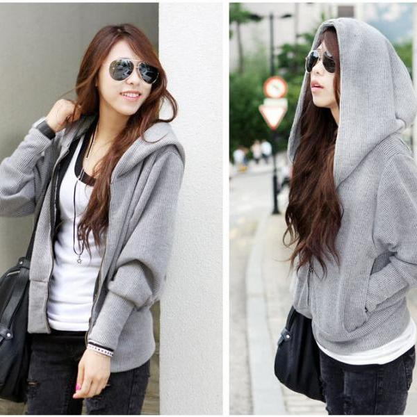 Loose Bat Sleeve Hooded Cardigan Sweater