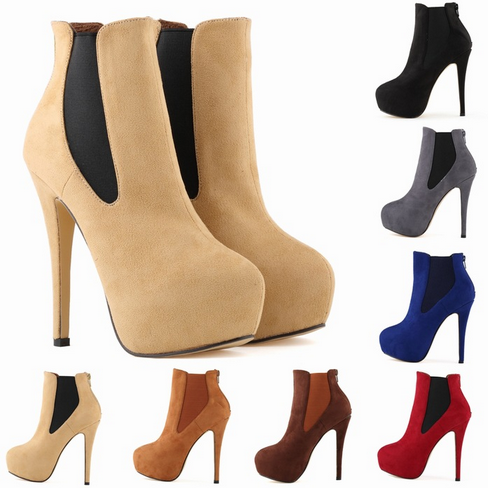 The new high-heeled shoes with shoes suede cloth fine autumn and winter night shop wind waterproof high-end women's Boots