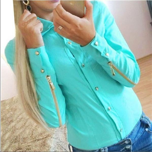 New Fashion Autumn Blouse Made Fashion Blouses With Zipper At Sleeve For Women