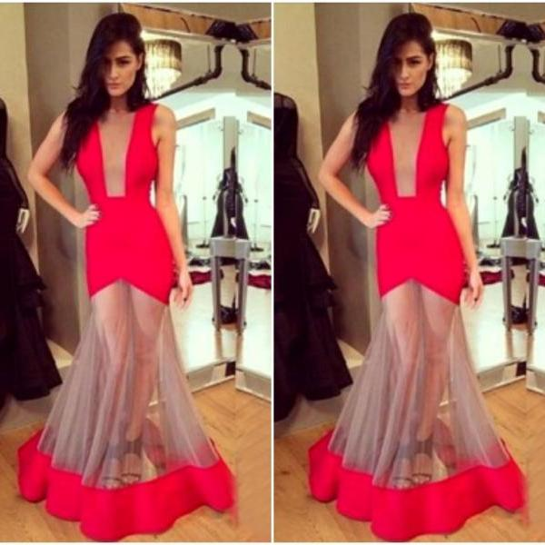 Gorgeous Red Sleeveless Mermaid Dress