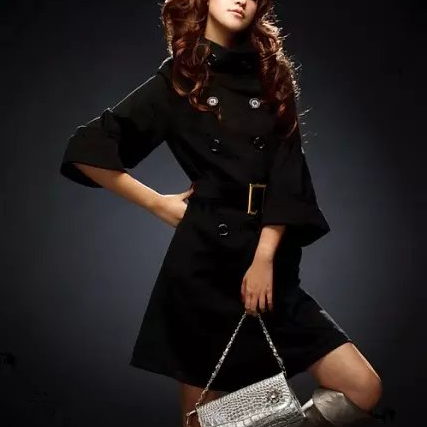 Stylish Double Breasted Coat In black Color