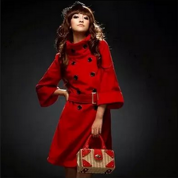 Fashion a double-breasted coat red color