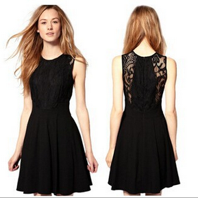 Europe and the United States women's classic little black dress splicing lace atmospheric waist was thin dress