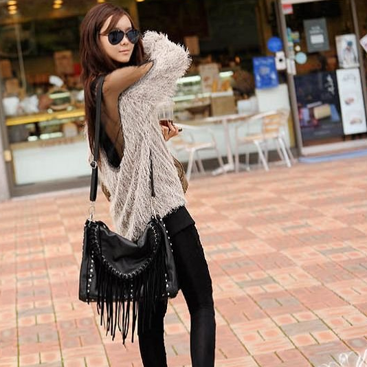 Europe and the United States yarn splicing Strapless backless sexy long sweater Mao Maoyi