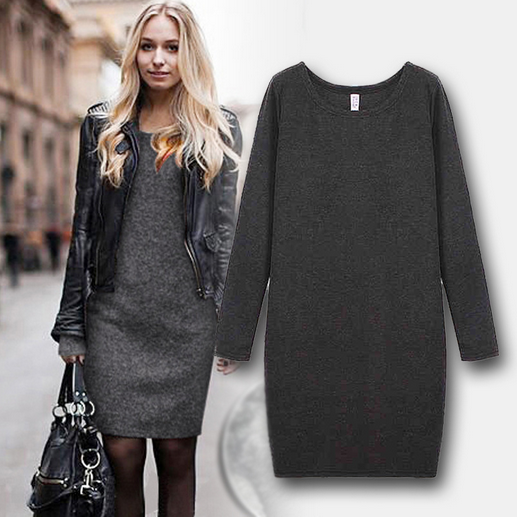 Women's New Europe Wind Fashion Cashmere Is Not Inverted Thickened With Velvet Dress Big Code