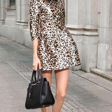 Fashion Slim Leopard Print Dress