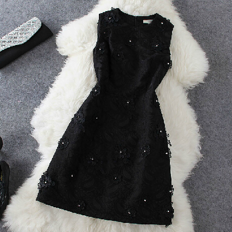 Fashion Beaded Sleeveless Vest Dress