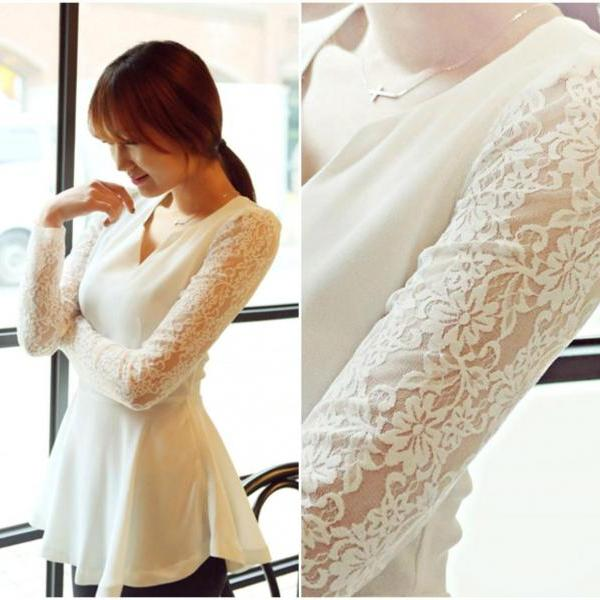 Elegant V Neck Lace And Chiffon Long Sleeve Top