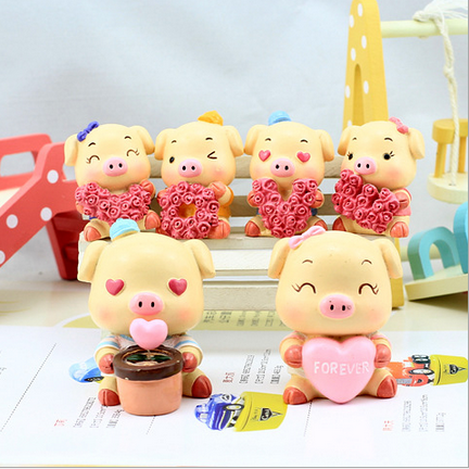 Resin handicrafts rose pig be deeply attached to each other a couple of dolls a gift for that special