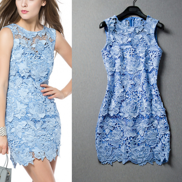 2015 the three-dimensional water soluble embroidered sleeveless dresses